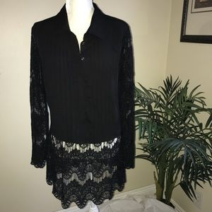 Venus Pleated Front W/ Lace Hem Long Sleeve Top
